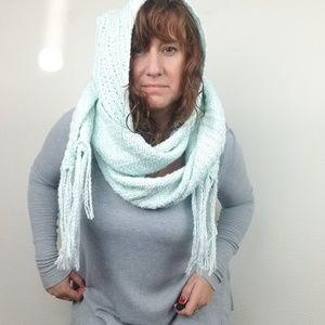 INDIGENOUS scarf hood fringe ORGANIC blue long